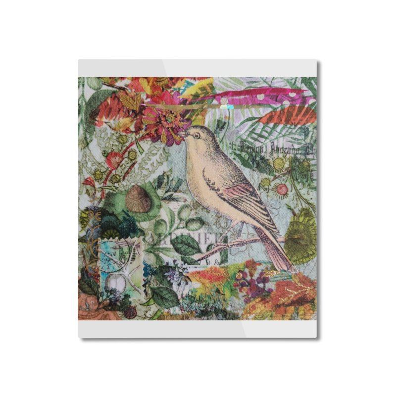 Botanical Songbird Original Designer Collage Home Mounted Aluminum Print by Wise Owl Artworks Artist Shop