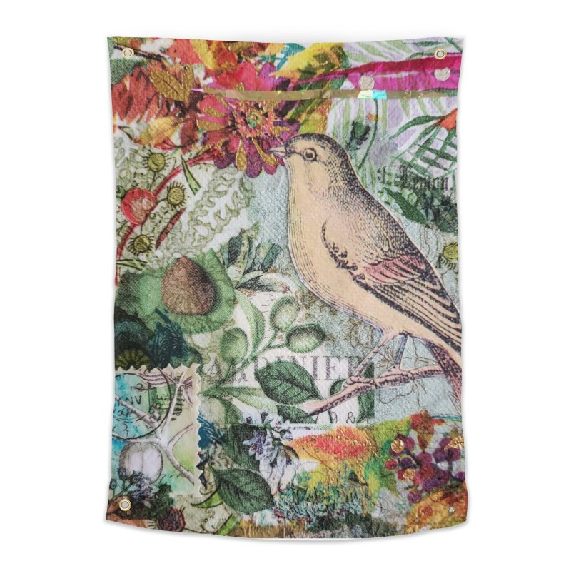 Botanical Songbird Original Designer Collage Home Tapestry by Wise Owl Artworks Artist Shop