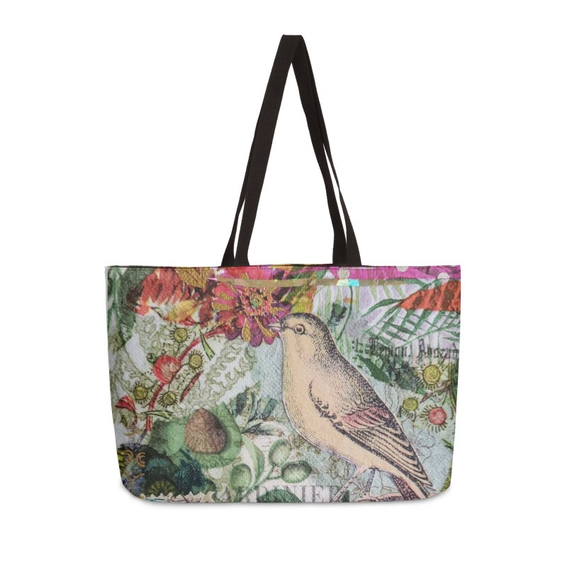 Botanical Songbird Original Designer Collage Accessories Weekender Bag Bag by Wise Owl Artworks Artist Shop