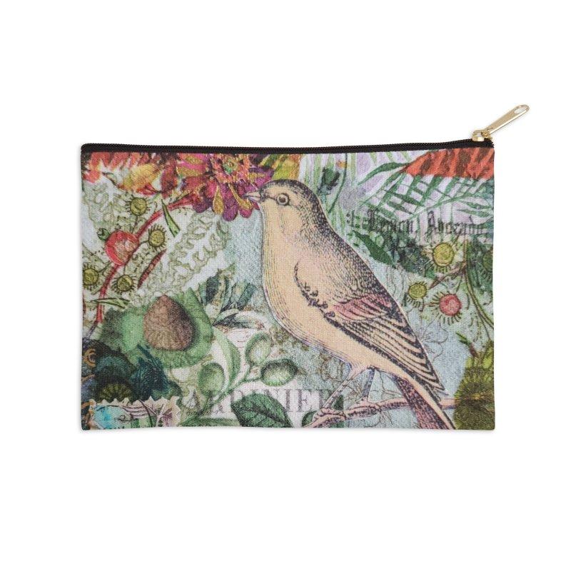 Botanical Songbird Original Designer Collage Accessories Zip Pouch by Wise Owl Artworks Artist Shop