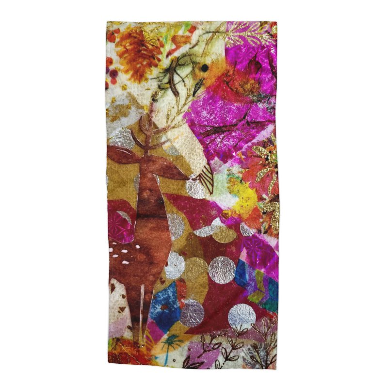Deer Garden Accessories Beach Towel by Wise Owl Artworks Artist Shop
