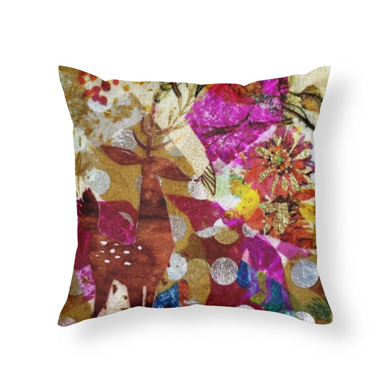 Deer Garden Home Throw Pillow by Wise Owl Artworks Artist Shop