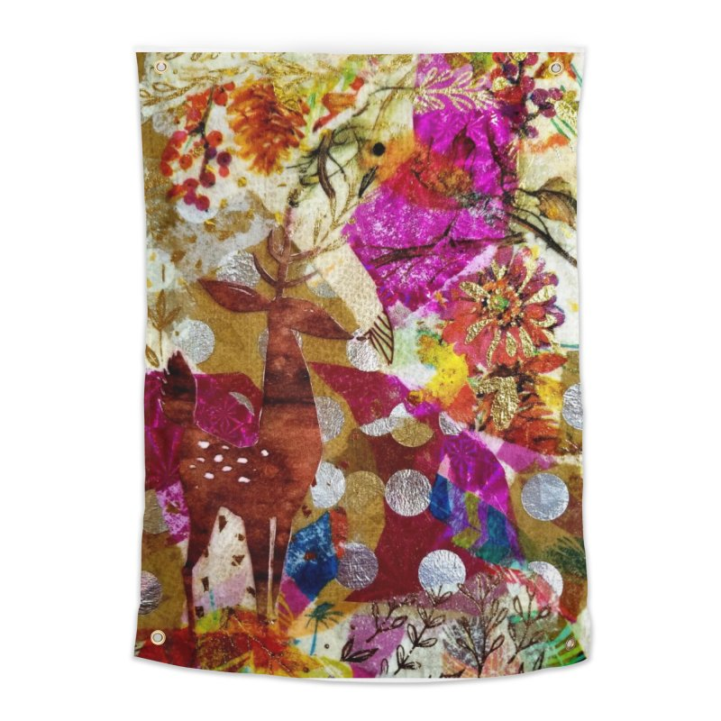 Deer Garden Home Tapestry by Wise Owl Artworks Artist Shop