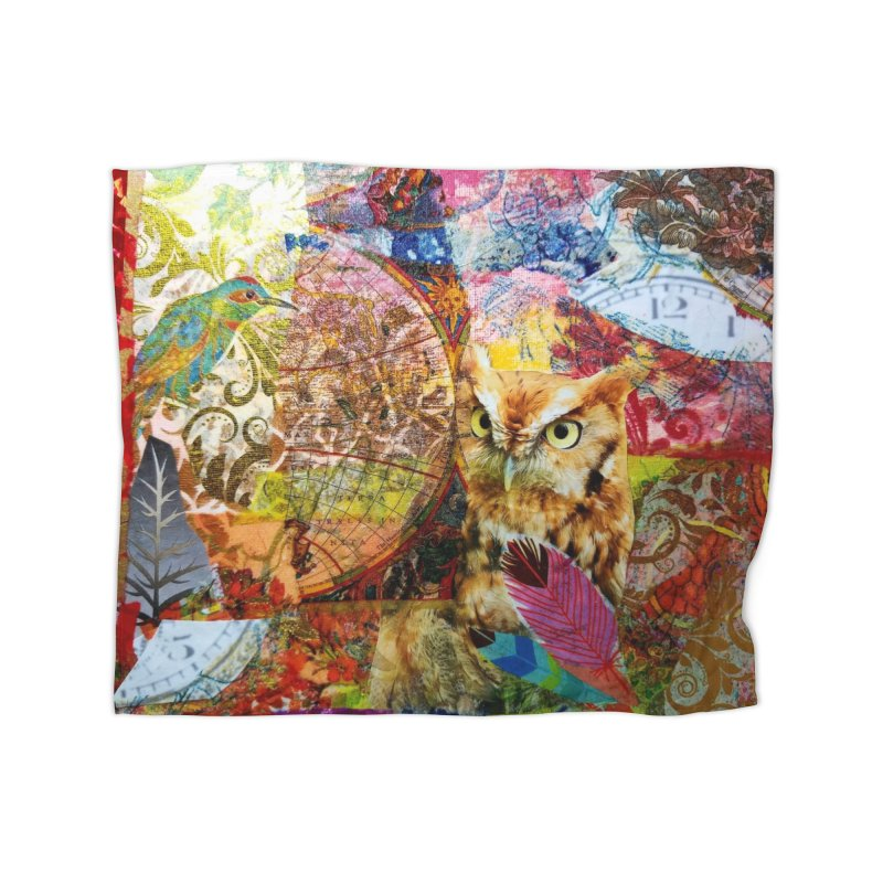 Timeless Owl Home Fleece Blanket Blanket by Wise Owl Artworks Artist Shop