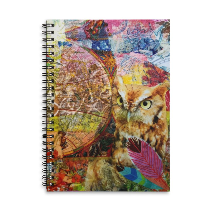 Timeless Owl Accessories Lined Spiral Notebook by Wise Owl Artworks Artist Shop