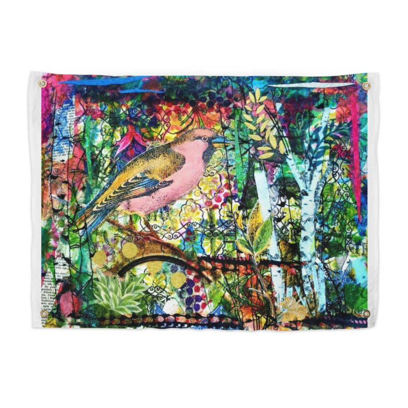 Sitting Pretty Original Collage Design Home Tapestry by Wise Owl Artworks Artist Shop