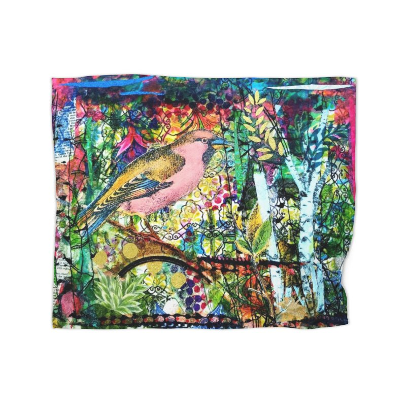 Sitting Pretty Original Collage Design Home Fleece Blanket Blanket by Wise Owl Artworks Artist Shop