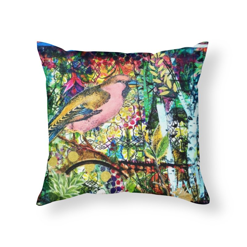 Sitting Pretty Original Collage Design Home Throw Pillow by Wise Owl Artworks Artist Shop