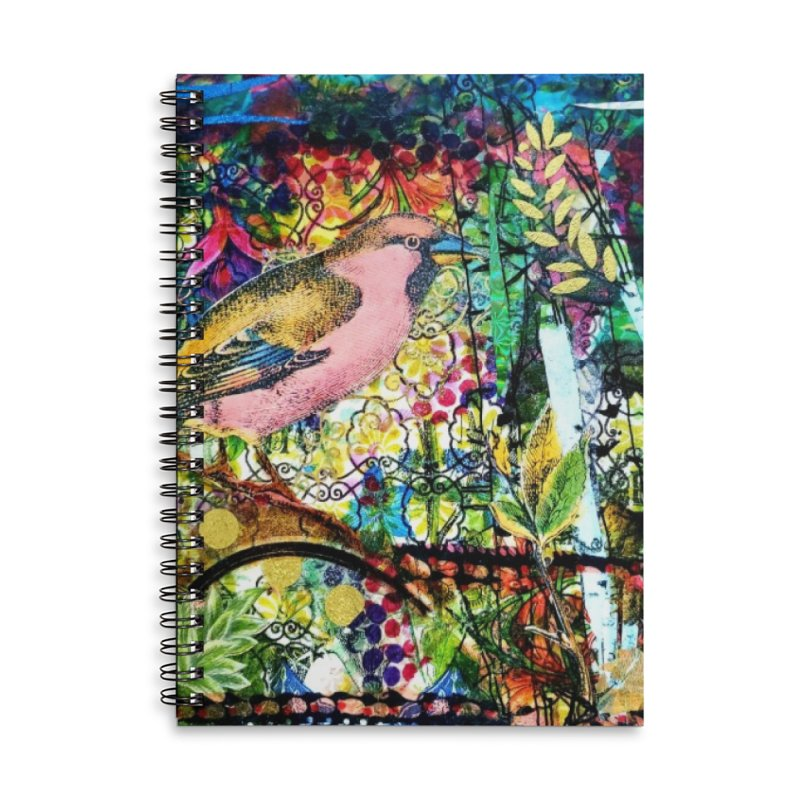 Sitting Pretty Original Collage Design Accessories Lined Spiral Notebook by Wise Owl Artworks Artist Shop