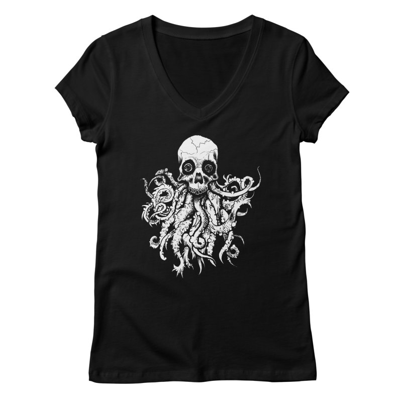 Tentaskull Women's Regular V-Neck by WishEyeVeiw's Tshirt & Junk Emporium!
