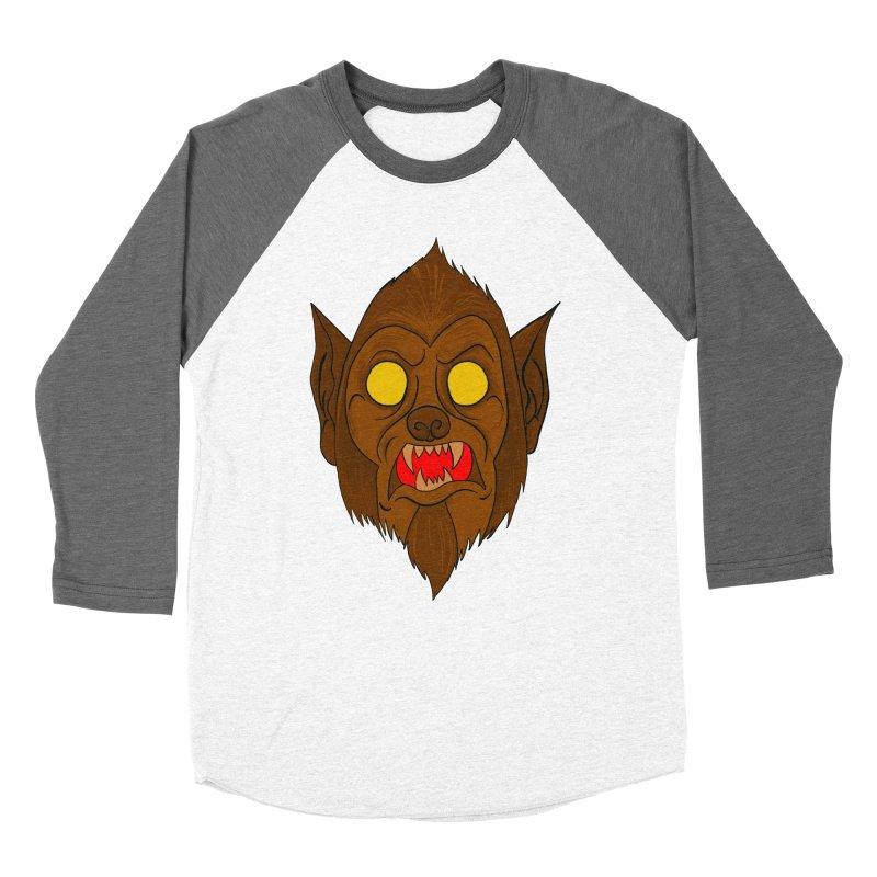Wolfy! in Men's Baseball Triblend Longsleeve T-Shirt Tri-Grey Sleeves by WishEyeVeiw's Tshirt & Junk Emporium!