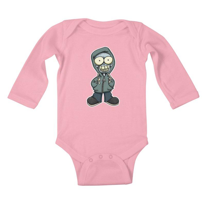 Creepy Hoodie Boy Kids Baby Longsleeve Bodysuit by wislander's Artist Shop