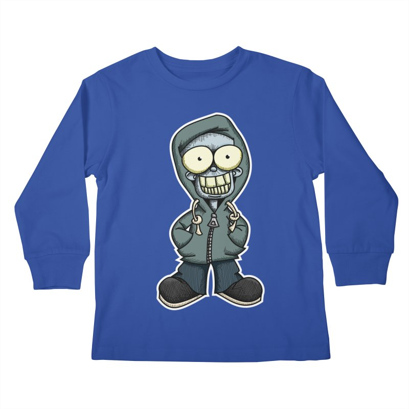 Creepy Hoodie Boy Kids Longsleeve T-Shirt by wislander's Artist Shop