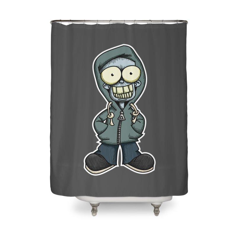 Creepy Hoodie Boy Home Shower Curtain by wislander's Artist Shop
