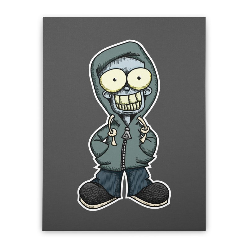 Creepy Hoodie Boy Home Stretched Canvas by wislander's Artist Shop