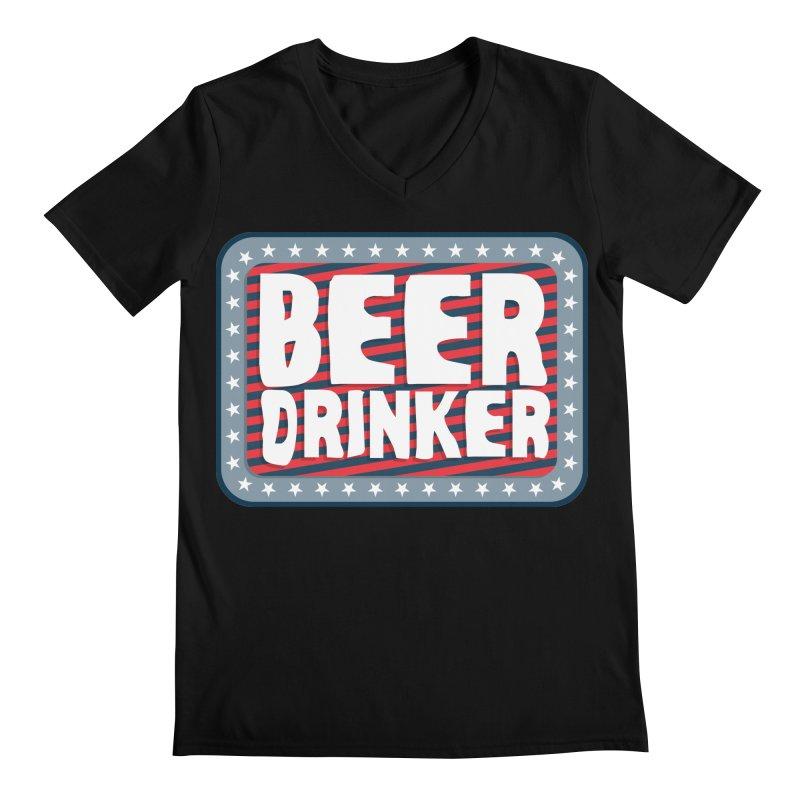 Beer Drinker #2 Men's V-Neck by wislander's Artist Shop