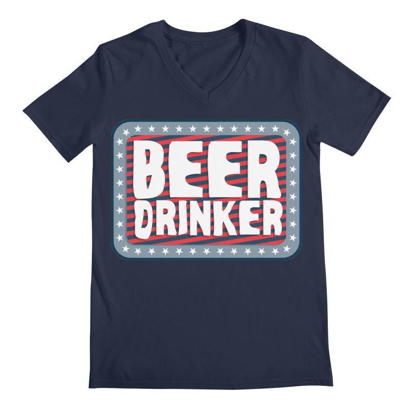 Beer Drinker #2 Men's Regular V-Neck by wislander's Artist Shop