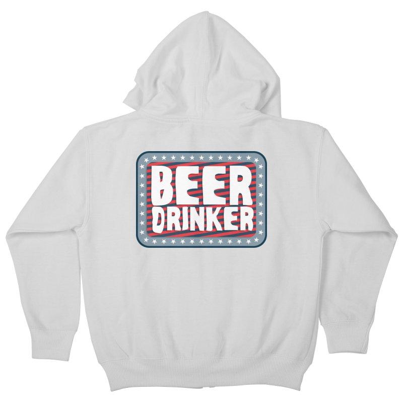 Beer Drinker #2 Kids Zip-Up Hoody by wislander's Artist Shop