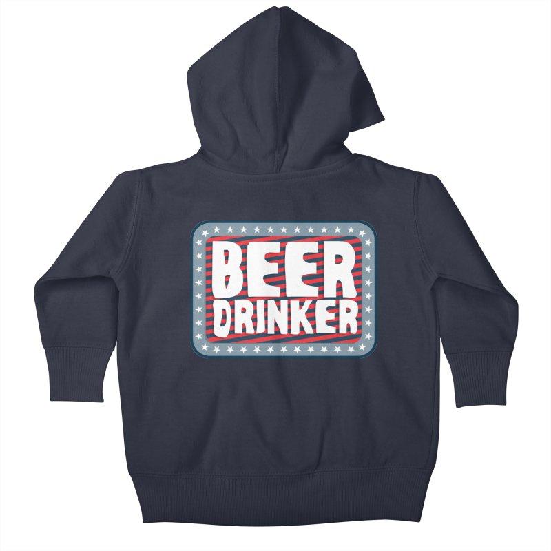 Beer Drinker #2 Kids Baby Zip-Up Hoody by wislander's Artist Shop