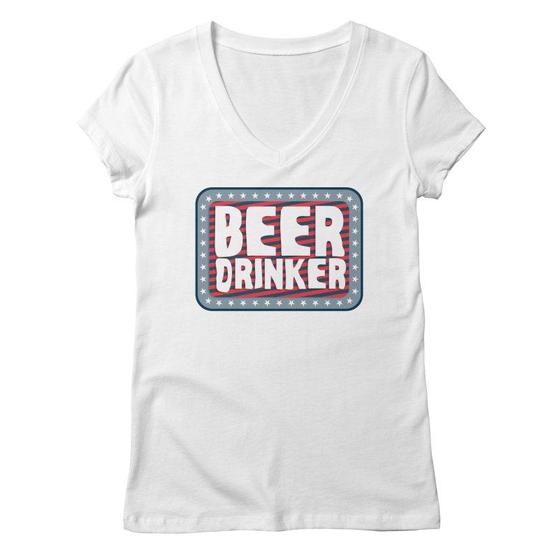 Beer Drinker #2 Women's V-Neck by wislander's Artist Shop
