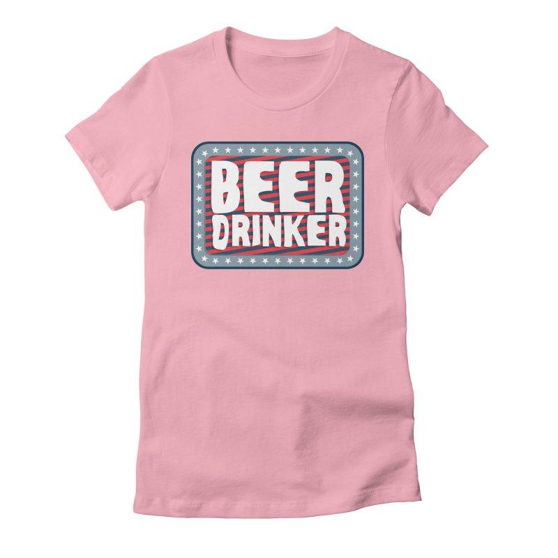 Beer Drinker #2 Women's Fitted T-Shirt by wislander's Artist Shop