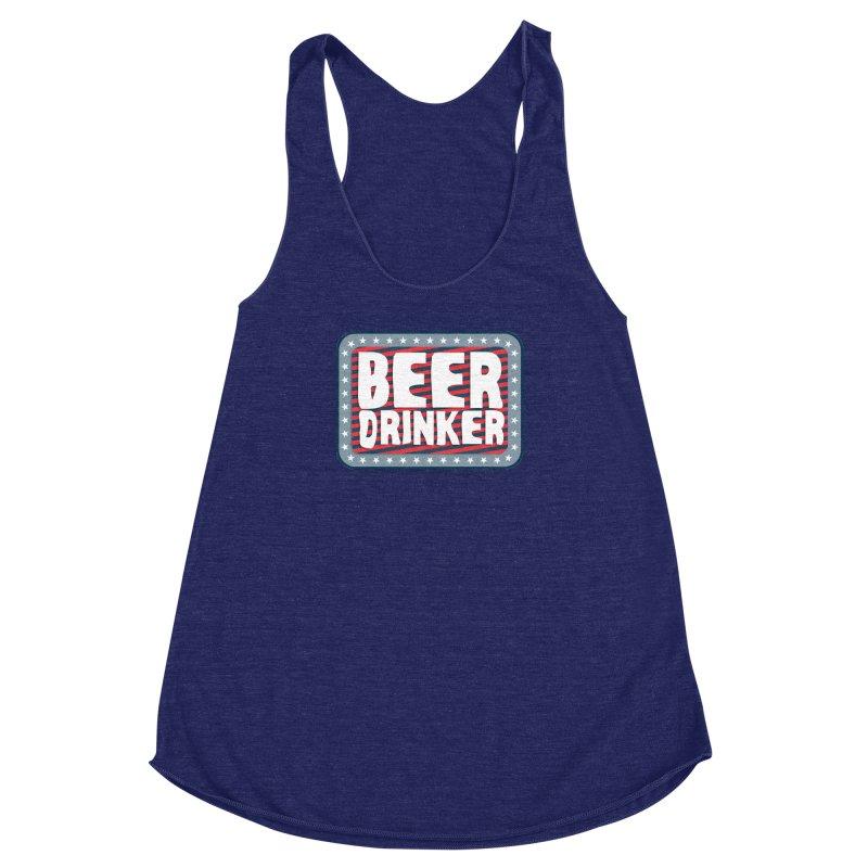 Beer Drinker #2 Women's Racerback Triblend Tank by wislander's Artist Shop