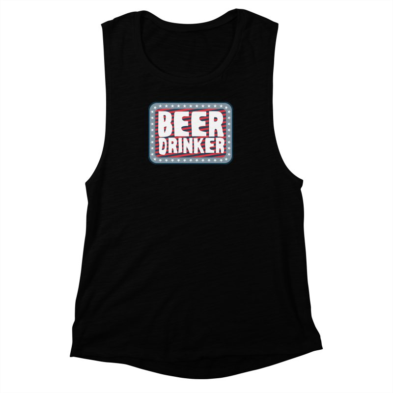 Beer Drinker #2 Women's Muscle Tank by wislander's Artist Shop