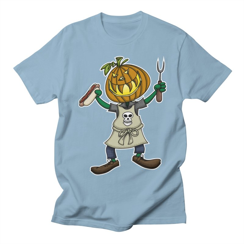 Pumpkinhead Grilling Men's Regular T-Shirt by wislander's Artist Shop