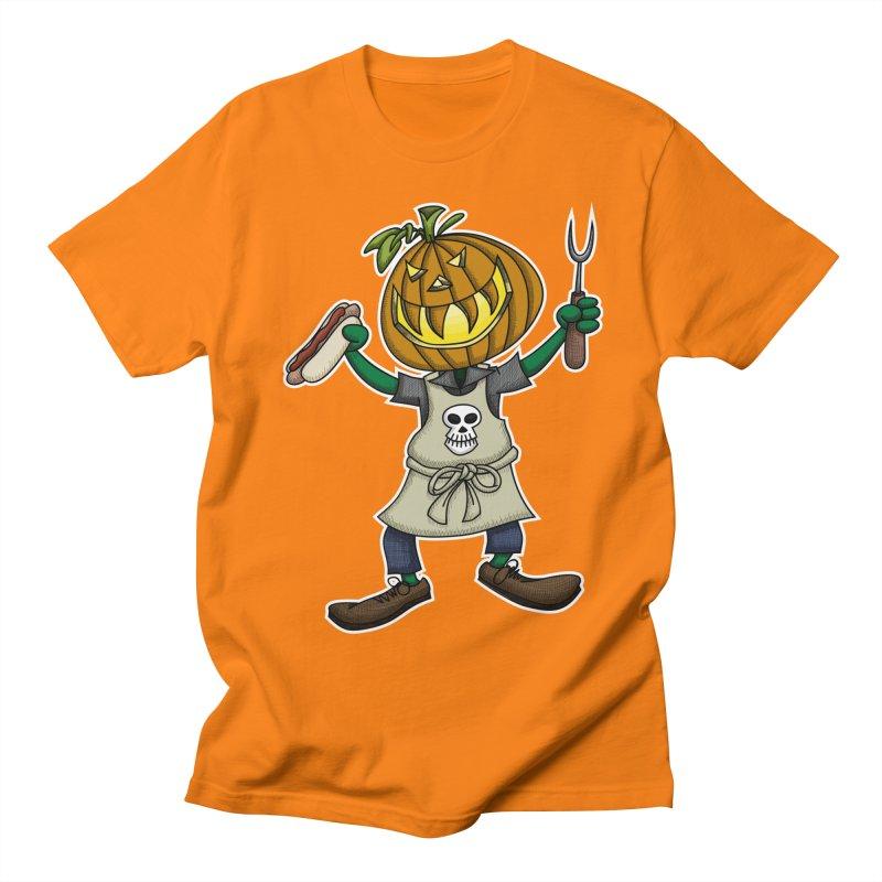 Pumpkinhead Grilling Men's T-shirt by wislander's Artist Shop