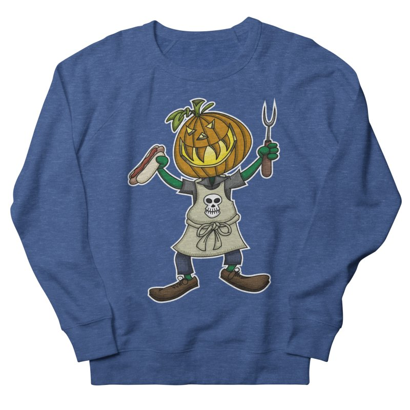 Pumpkinhead Grilling Women's French Terry Sweatshirt by wislander's Artist Shop