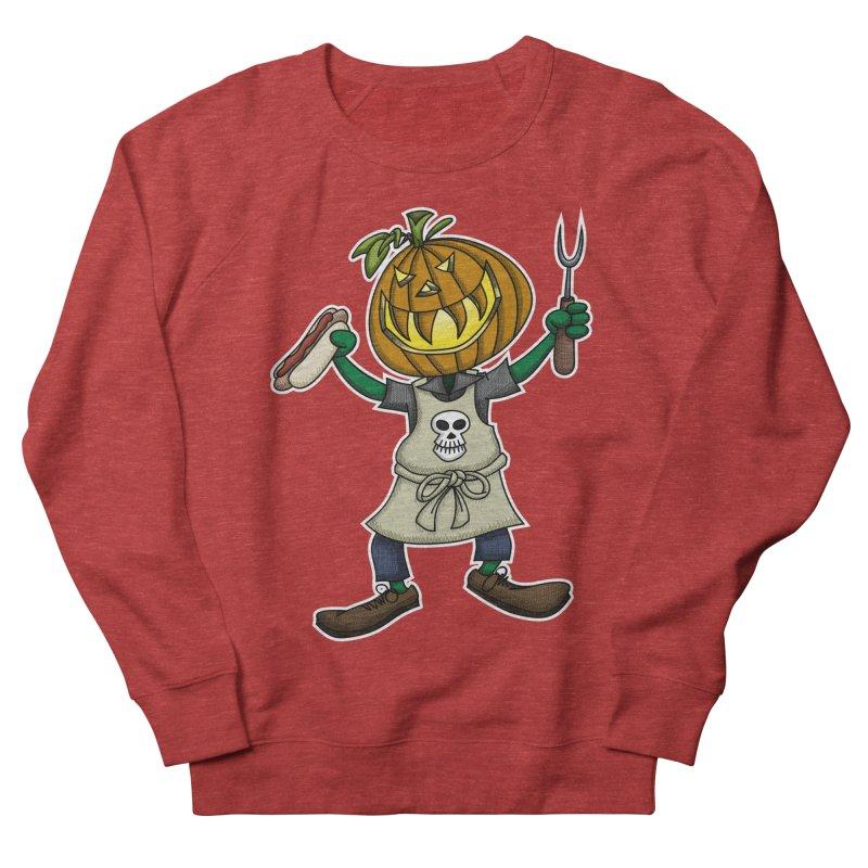 Pumpkinhead Grilling Women's French Terry Sweatshirt by wislander's Artist Shop