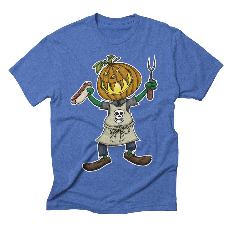 Pumpkinhead Grilling Men's Triblend T-Shirt by wislander's Artist Shop