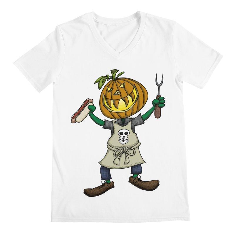 Pumpkinhead Grilling Men's Regular V-Neck by wislander's Artist Shop