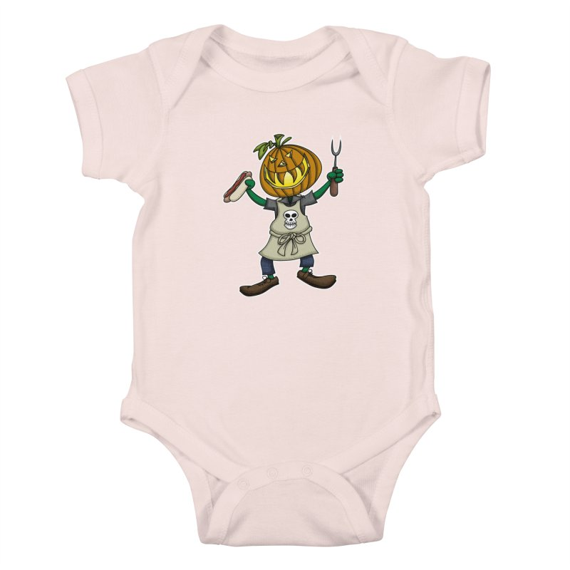 Pumpkinhead Grilling Kids Baby Bodysuit by wislander's Artist Shop