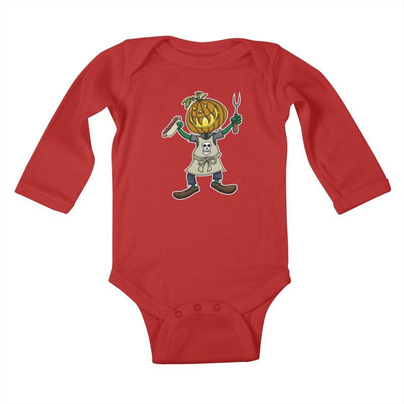 Pumpkinhead Grilling Kids Baby Longsleeve Bodysuit by wislander's Artist Shop