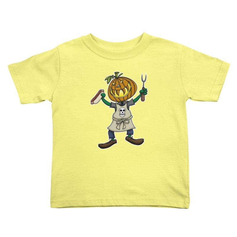 Pumpkinhead Grilling Kids Toddler T-Shirt by wislander's Artist Shop