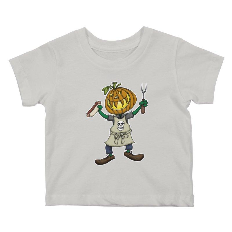 Pumpkinhead Grilling Kids Baby T-Shirt by wislander's Artist Shop