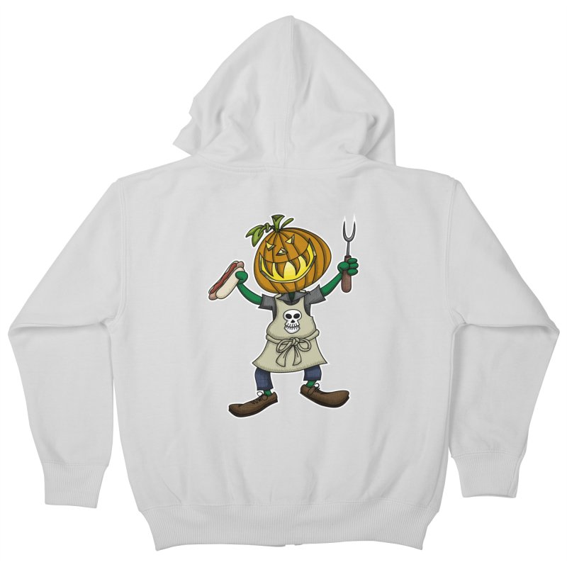 Pumpkinhead Grilling Kids Zip-Up Hoody by wislander's Artist Shop