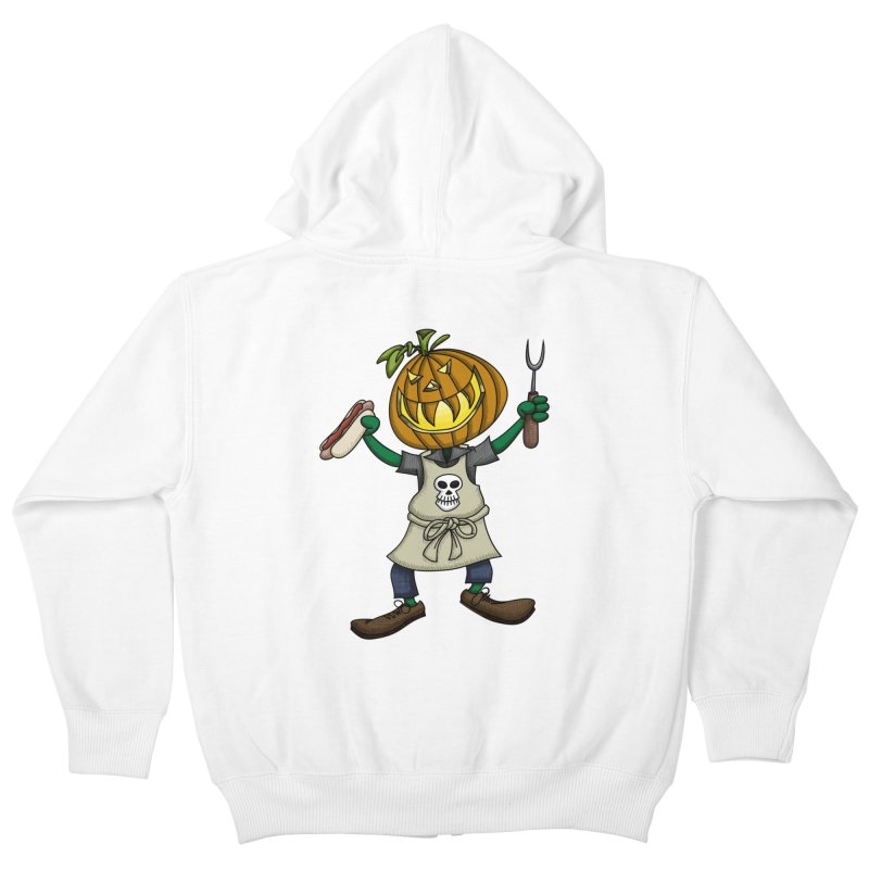 Pumpkinhead Grilling Kids Zip-Up Hoody by wislander's Artist Shop