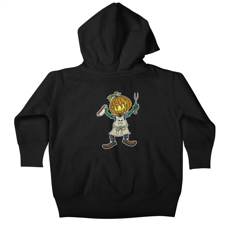 Pumpkinhead Grilling Kids Baby Zip-Up Hoody by wislander's Artist Shop