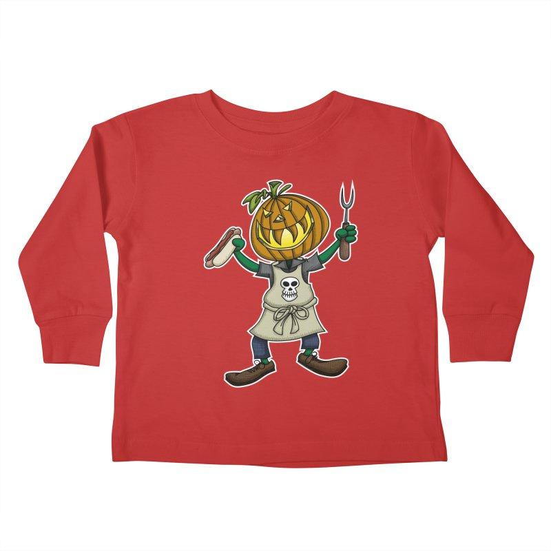 Pumpkinhead Grilling Kids Toddler Longsleeve T-Shirt by wislander's Artist Shop