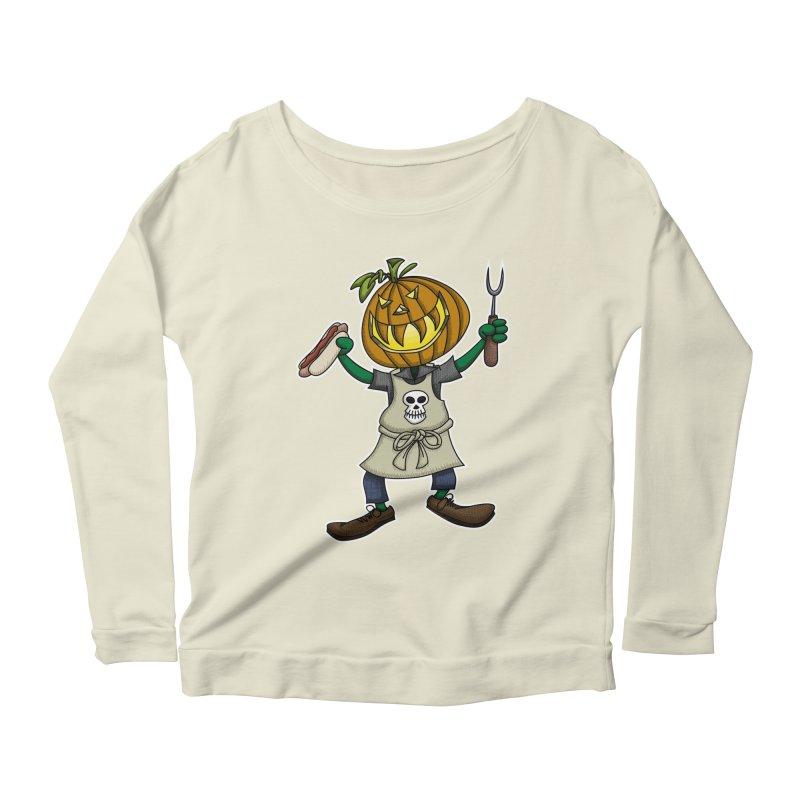 Pumpkinhead Grilling Women's Scoop Neck Longsleeve T-Shirt by wislander's Artist Shop