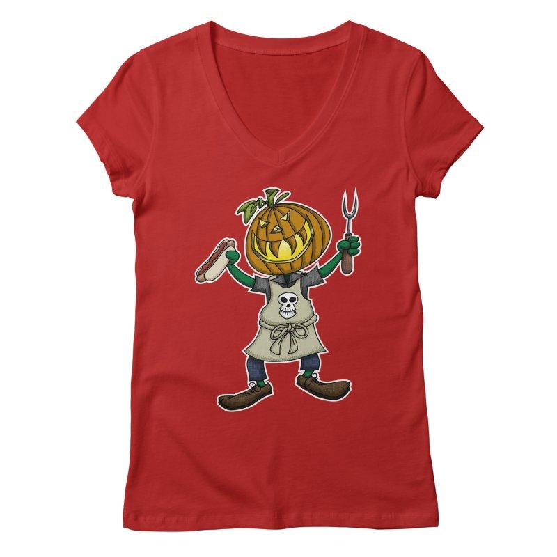 Pumpkinhead Grilling Women's V-Neck by wislander's Artist Shop
