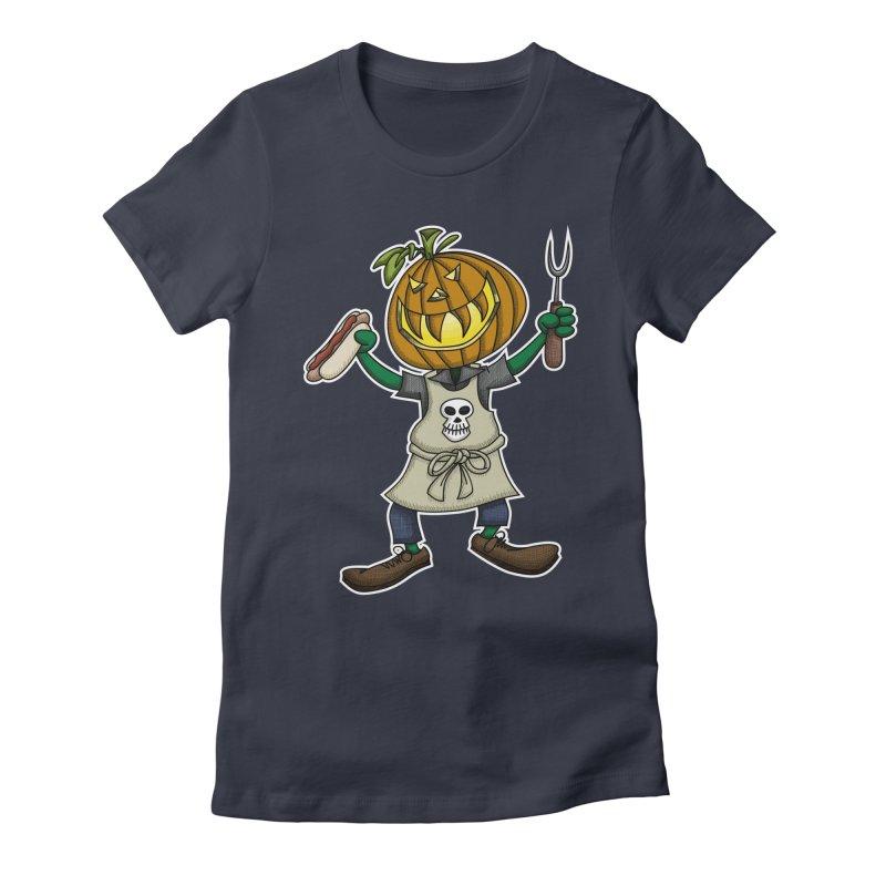 Pumpkinhead Grilling Women's Fitted T-Shirt by wislander's Artist Shop
