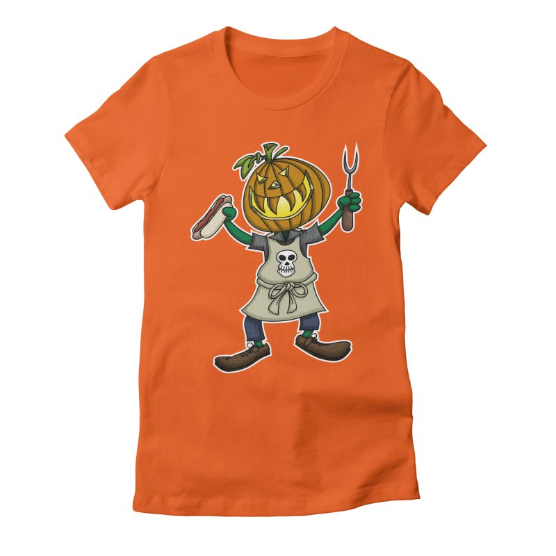 Pumpkinhead Grilling Women's Fitted T-Shirt by wislander's Artist Shop
