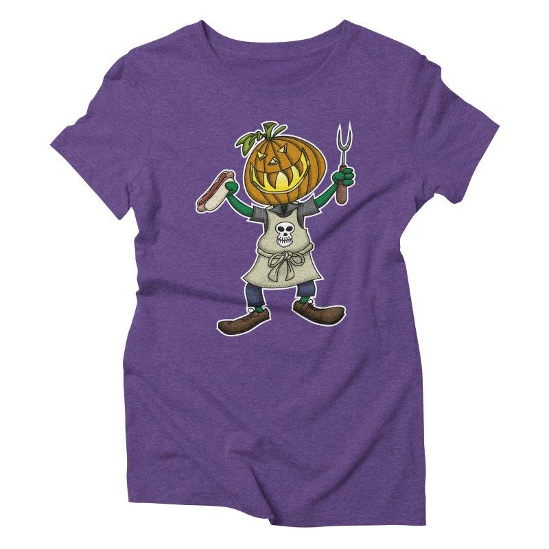 Pumpkinhead Grilling Women's Triblend T-shirt by wislander's Artist Shop