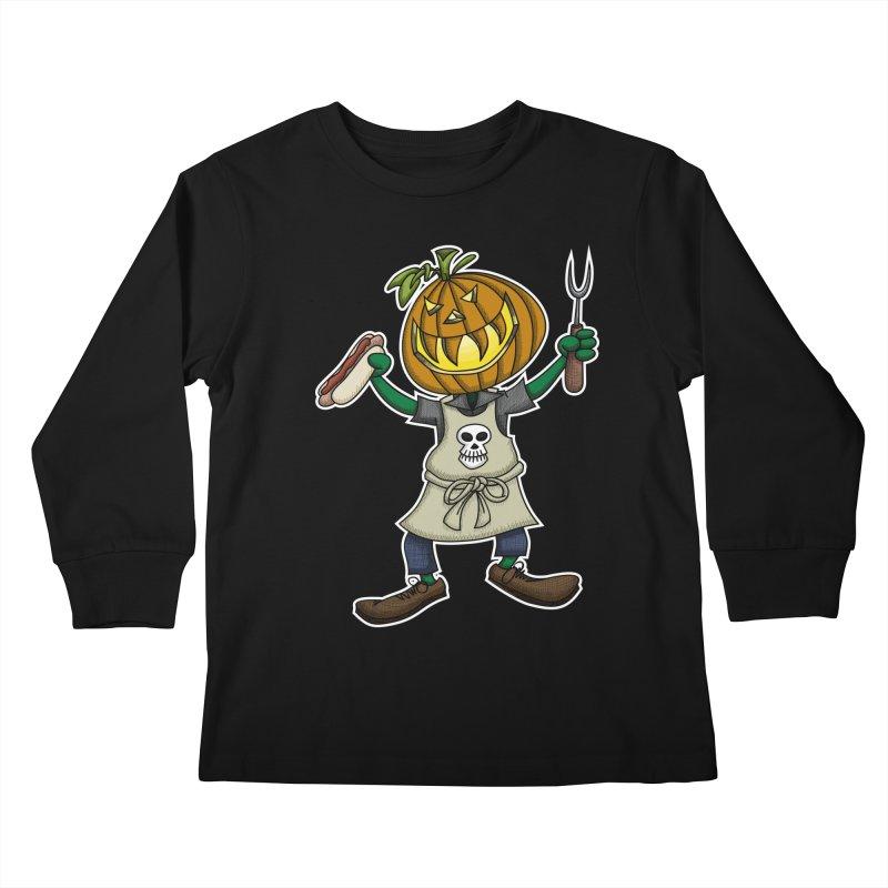 Pumpkinhead Grilling Kids Longsleeve T-Shirt by wislander's Artist Shop