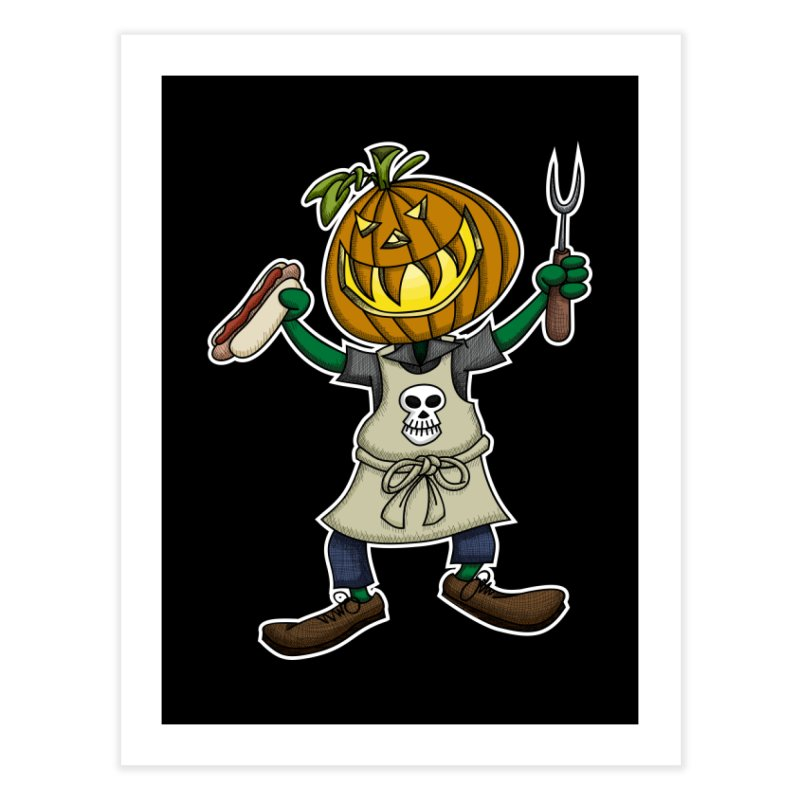 Pumpkinhead Grilling Home Fine Art Print by wislander's Artist Shop