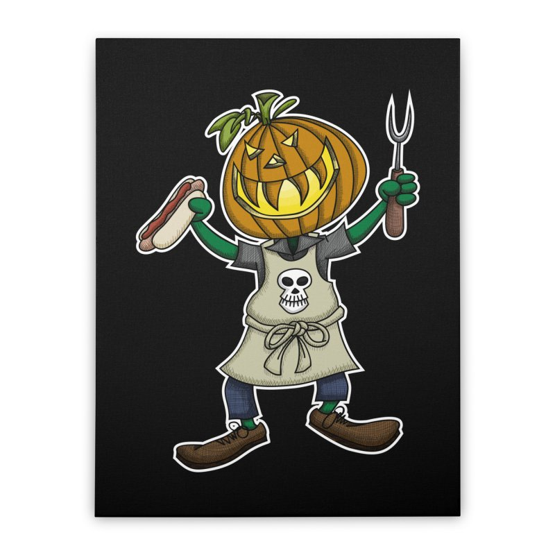 Pumpkinhead Grilling Home Stretched Canvas by wislander's Artist Shop