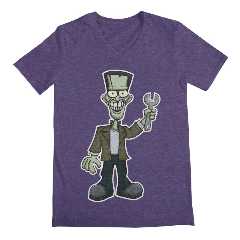 Frankenstein with a Wrench Men's Regular V-Neck by wislander's Artist Shop